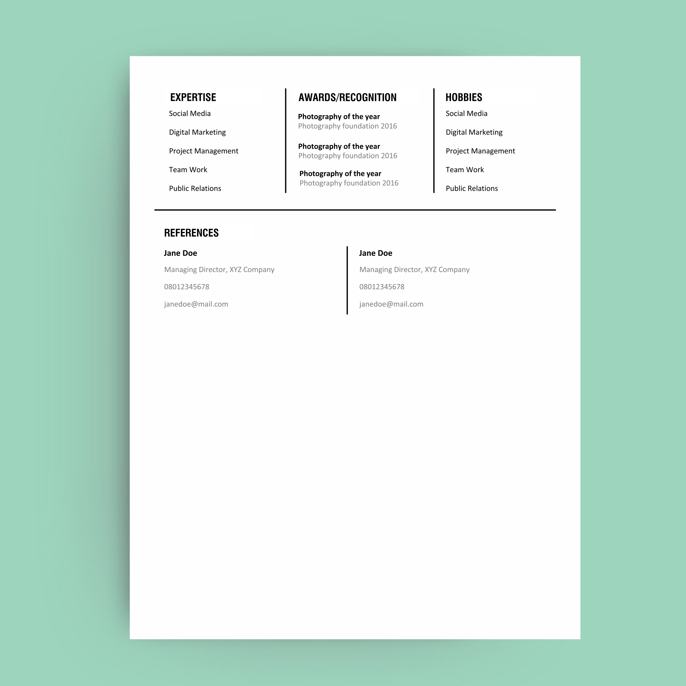 Resume Template Front Resume Template Back  Editable Resume Templates