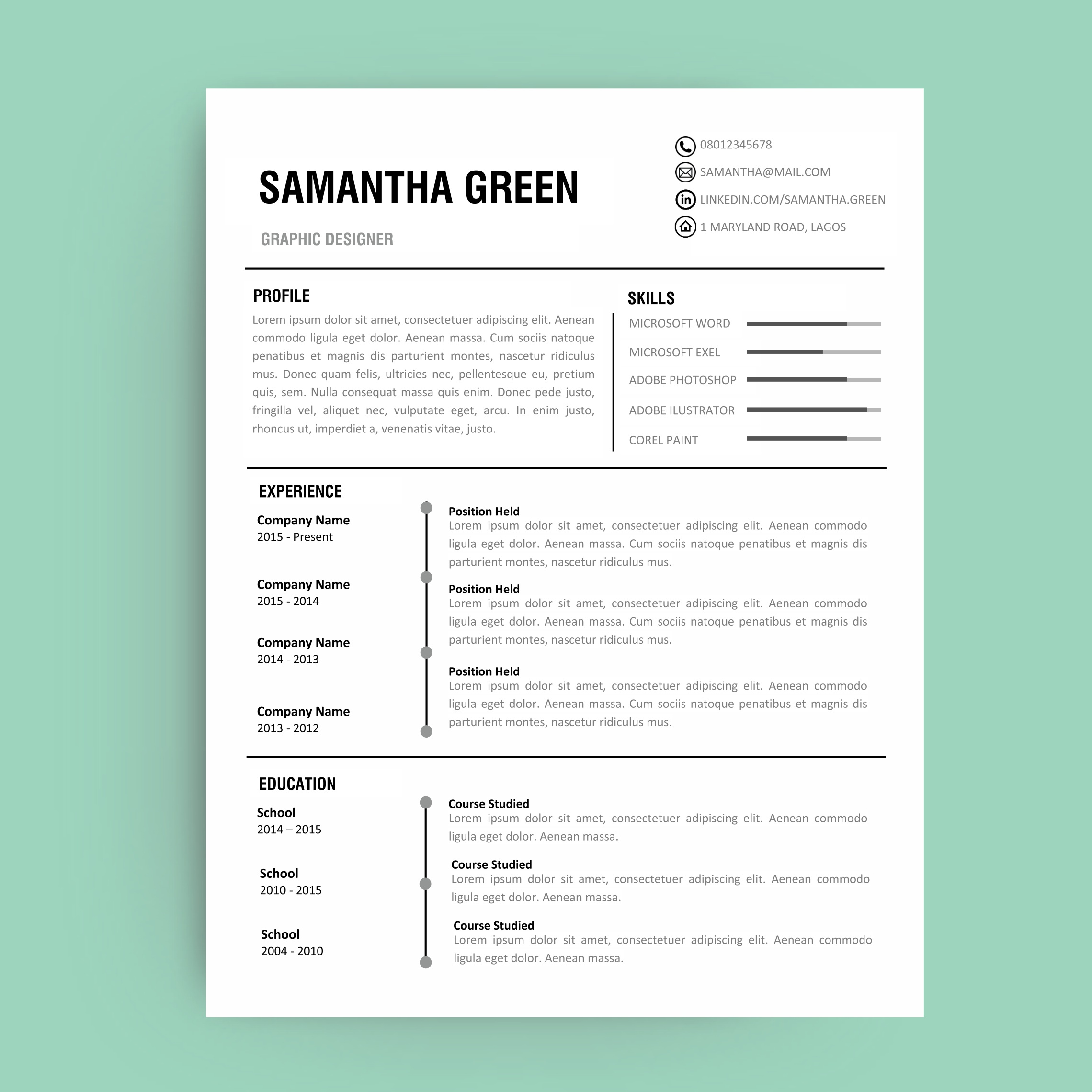 editable resume template curriculum vitae template resume template front