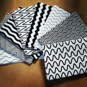 black and white envelopes
